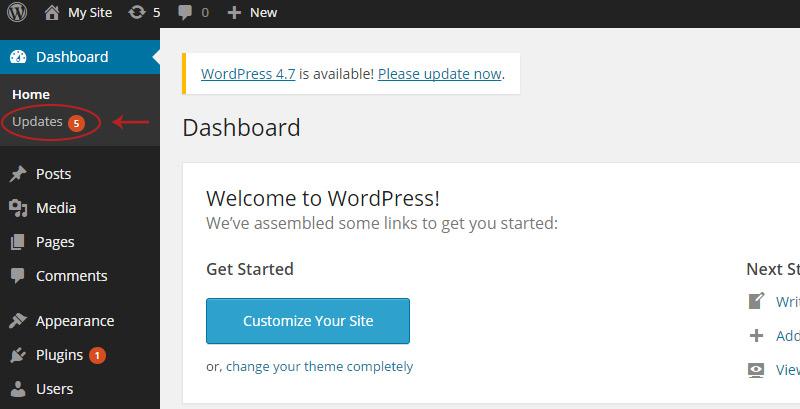 wordpress updates bubble