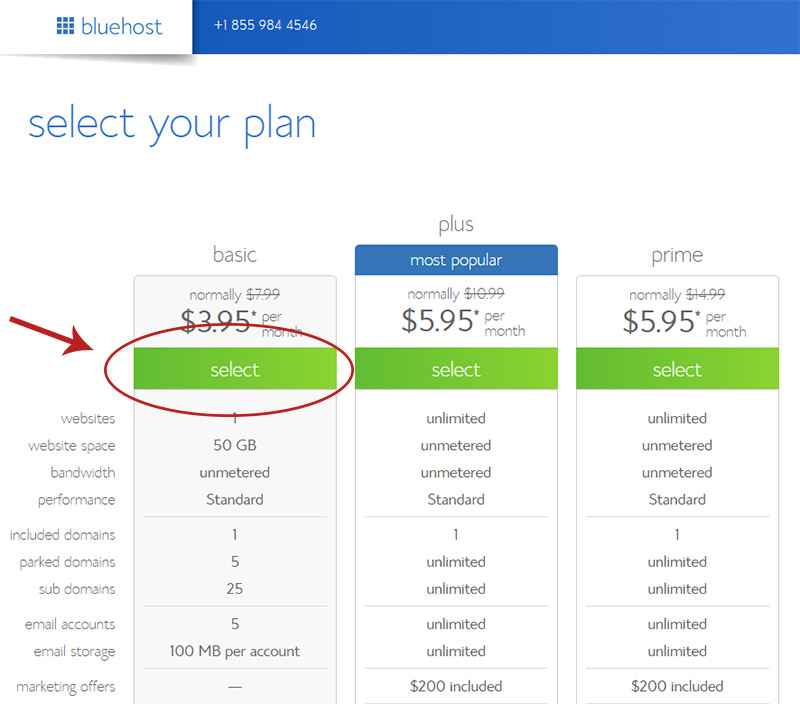 bluehost plan signup