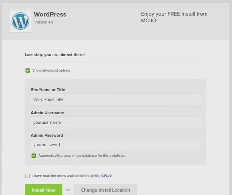 setup wordpress details