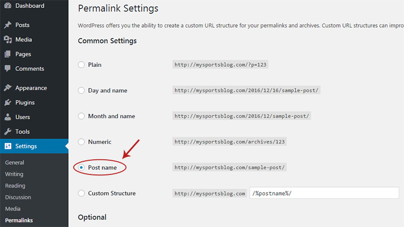 change permalinks setting