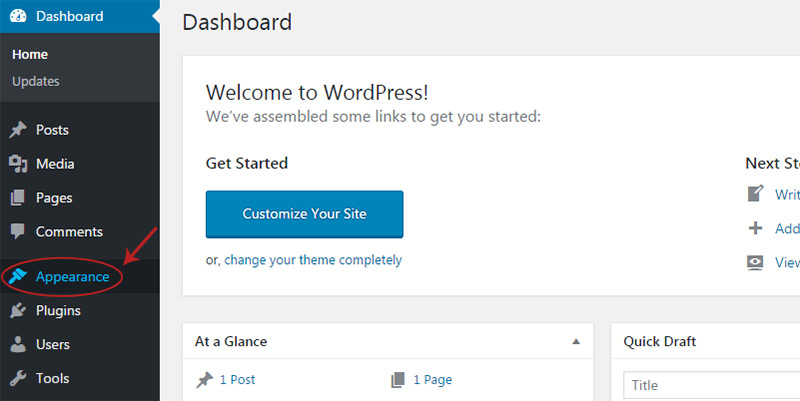 wordpress appearance link