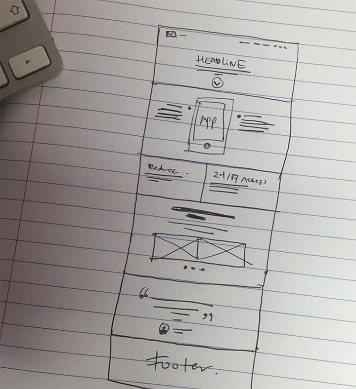 simple homepage lofi sketch