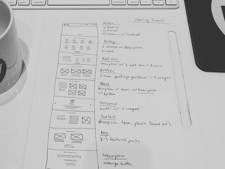 startup homepage wireframe