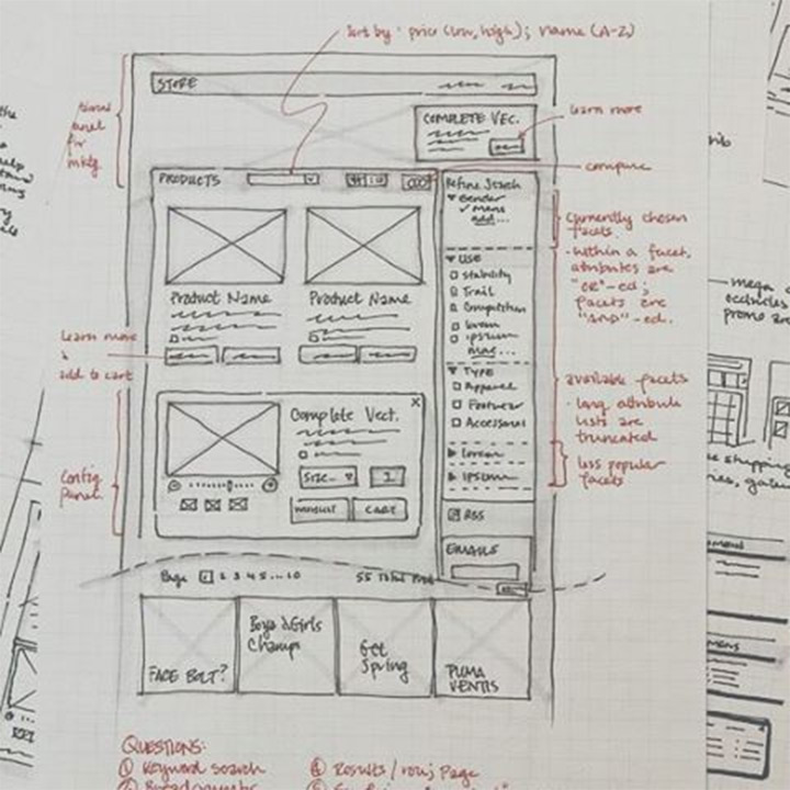 paper pencil wireframing ui
