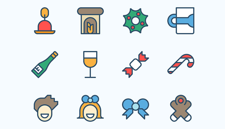 3-pack set icons christmas cheer