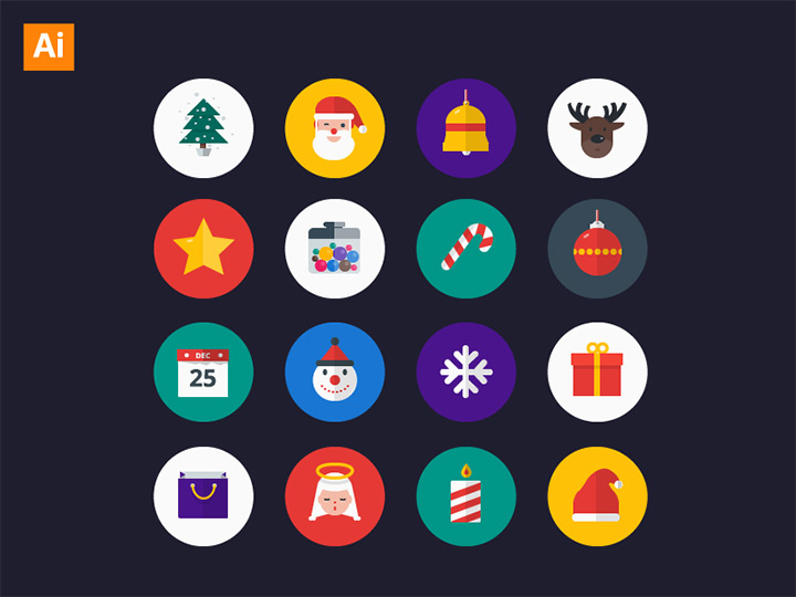 flat christmas icons 24-pack