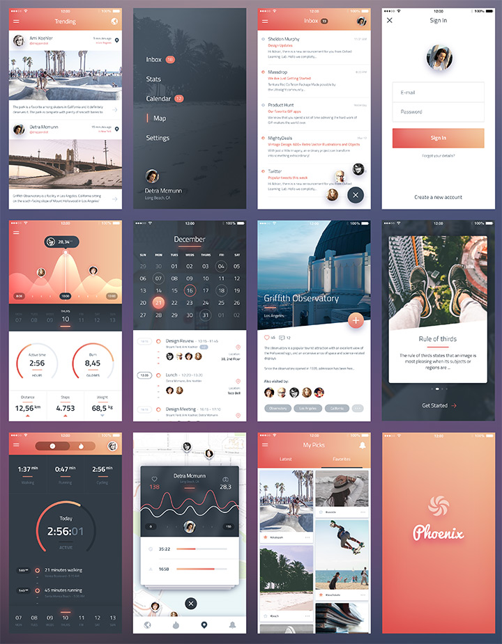 pheonix ui vol1 freebie sketch psd