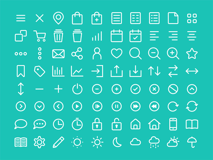 thin white rounded line icons