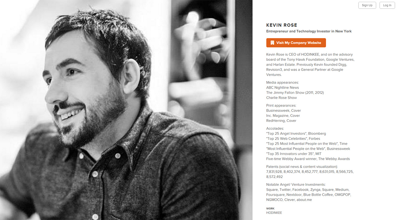 kevin rose about.me profile redesign