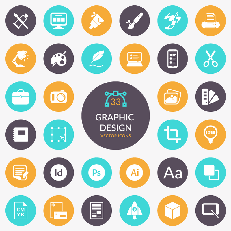 Graphic Design Flat Iconset Free Download