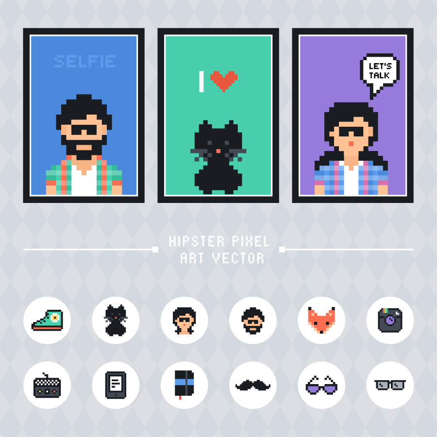 hipster pixel art freebie iconset