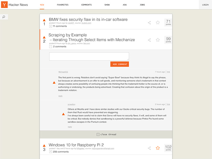 minimalist hacker news homepage