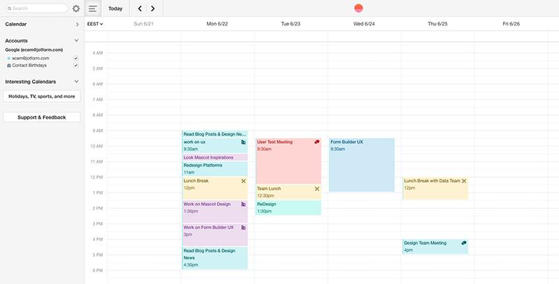 Sunrise Calendar webapp