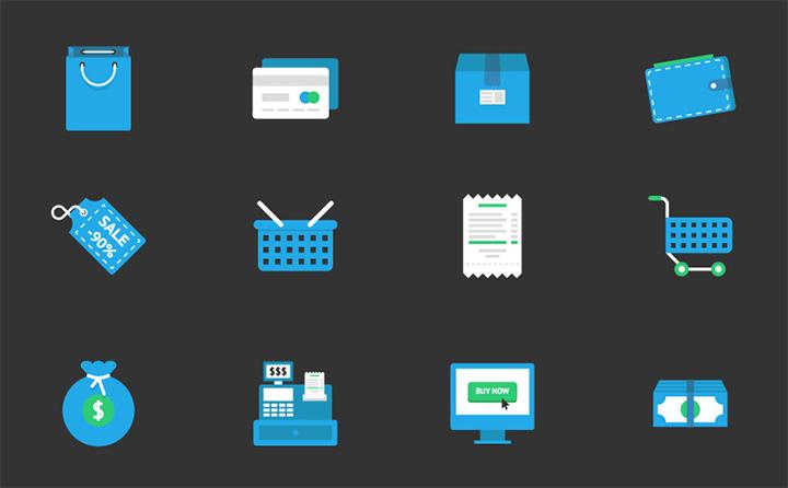 blue flat detailed iconset ecommerce