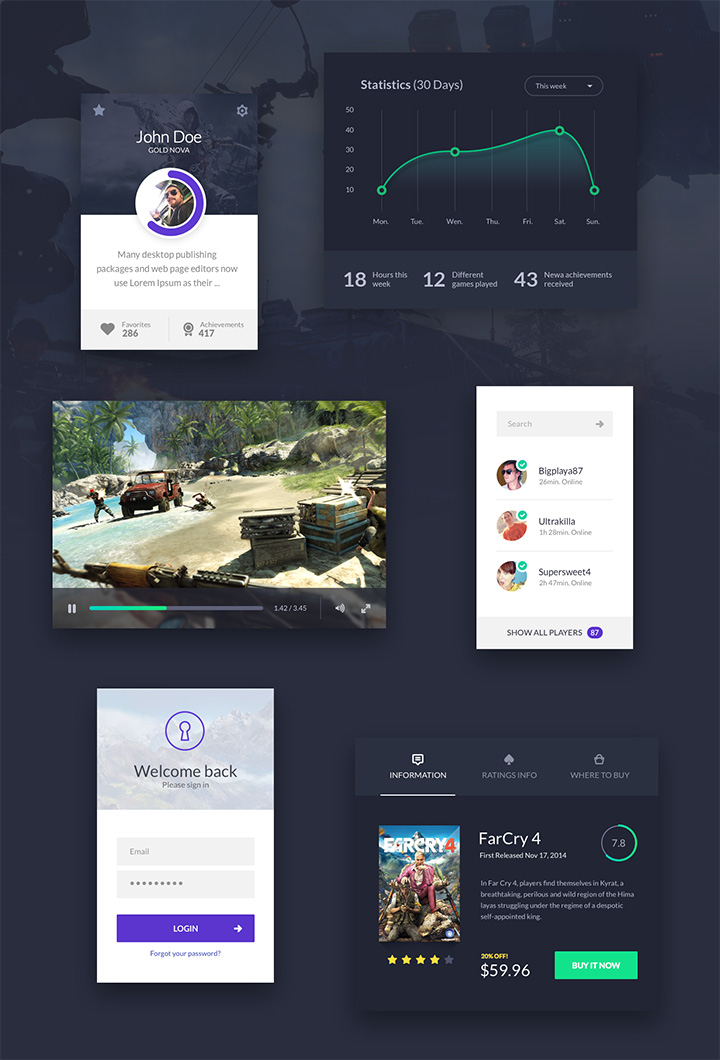 gaming ui kit freebie