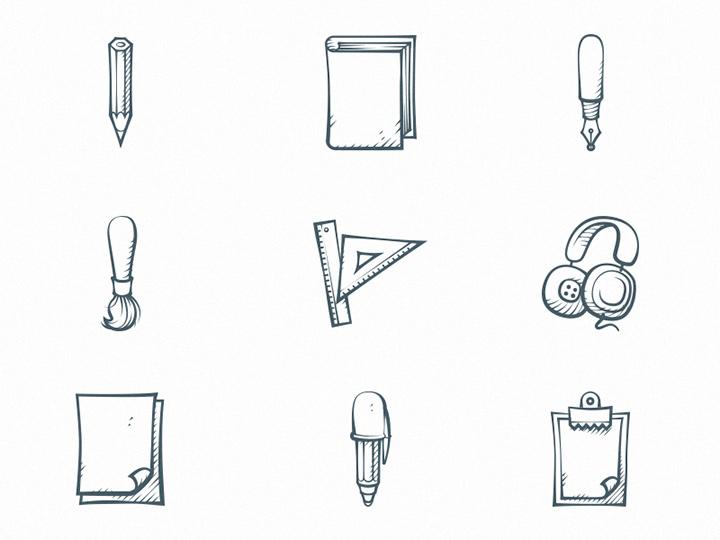 freebie handdrawn icons vectors