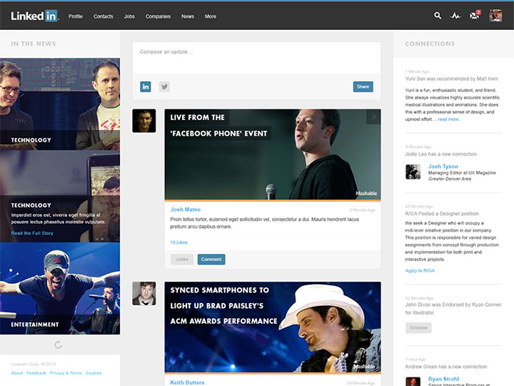 linkedin homepage redesign ui