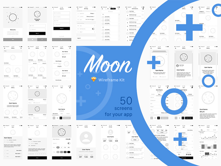 moon wireframe kit design