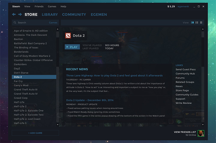 Steam PC App ui design