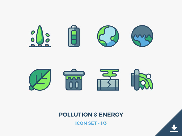 pollution energy icons
