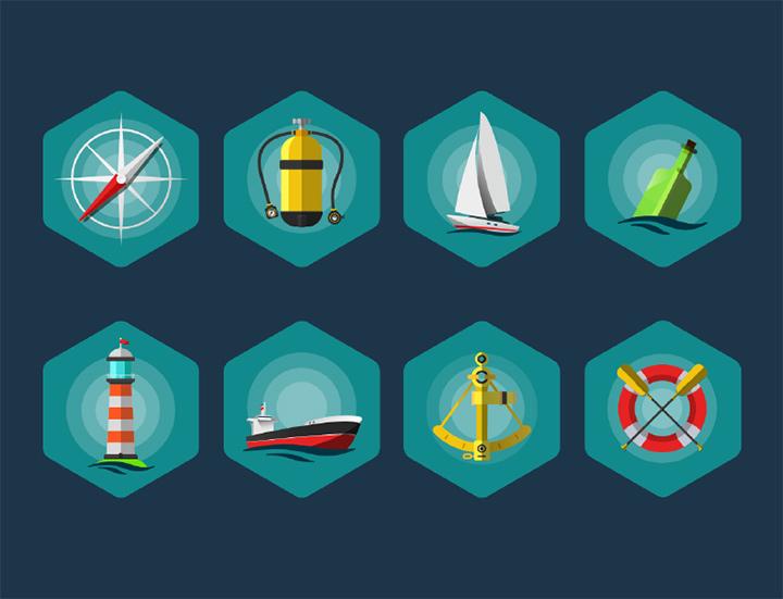 freebie sea elements icons