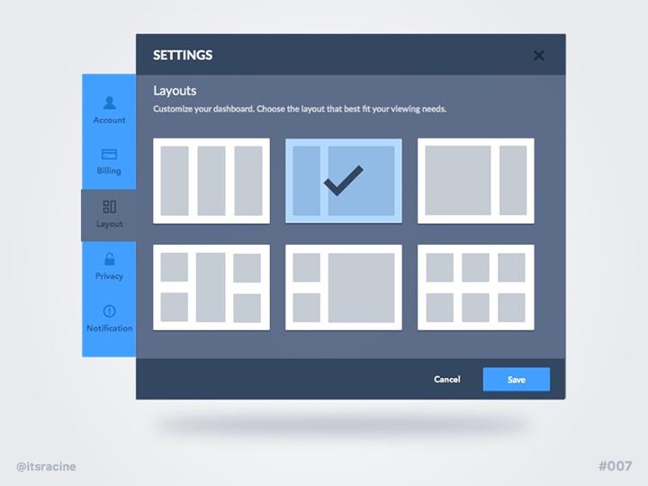 flat settings panel ui freebie