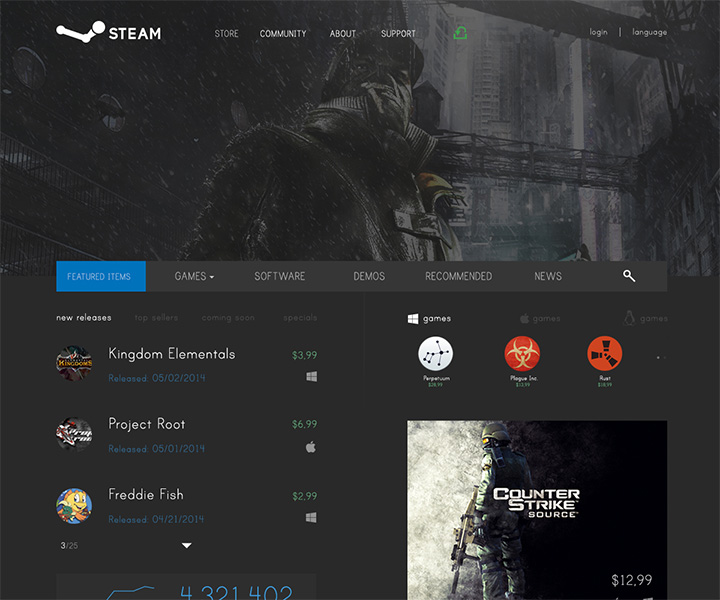 dark steam website layout