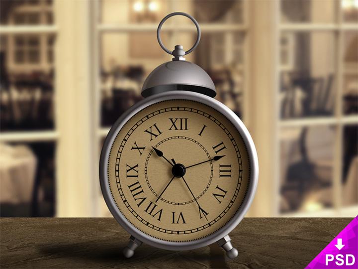 vintage alarm clock psd
