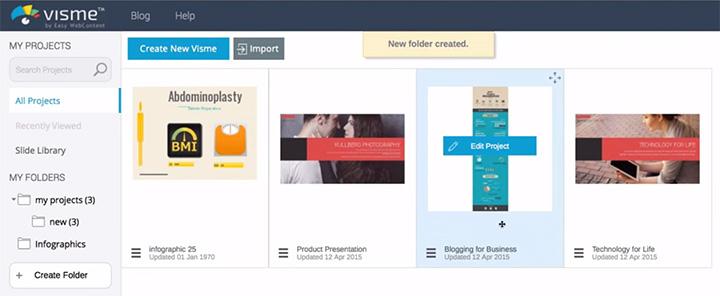 visme screenshot projects dashboard