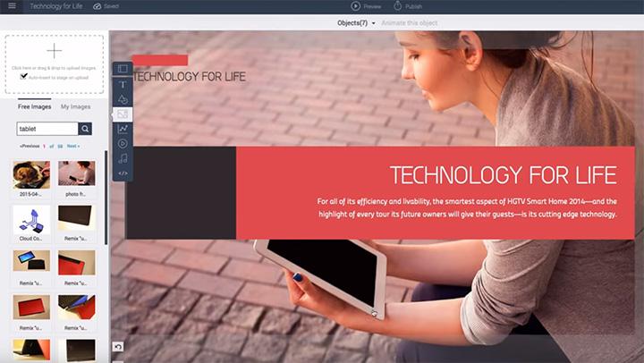 visme web screenshot panel