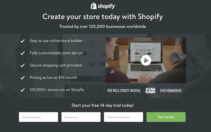 shopify landing page sample design