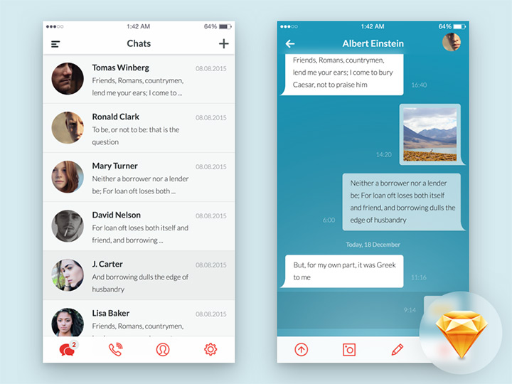mobile app ui sketch freebie