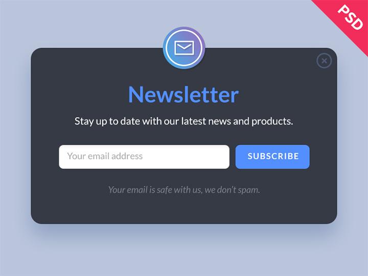 newsletter psd free form mockup