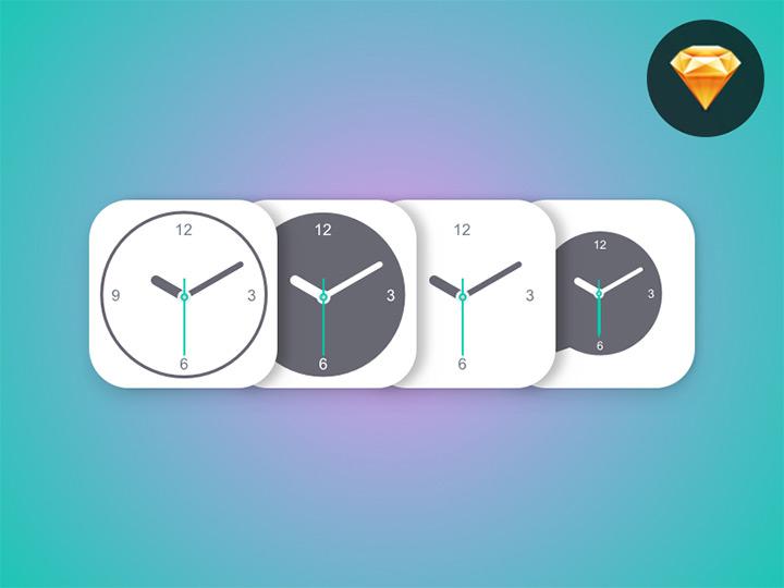 sketch freebie clock icons