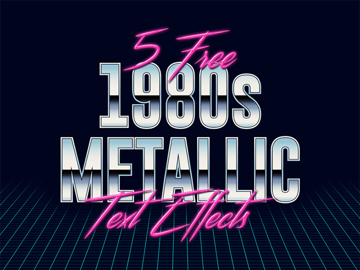 1980s metal text effects freebies