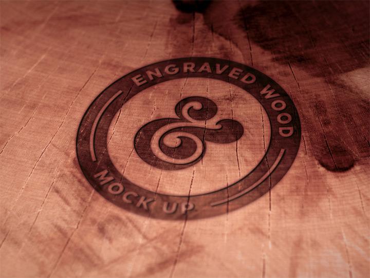 engraved wood logo editable psd