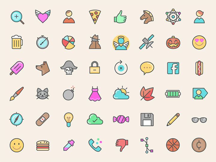 freebie line icons colorful iconset