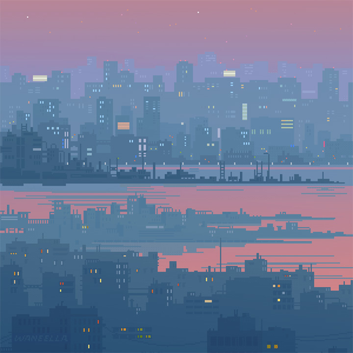 neonmob neon city pixel artwork