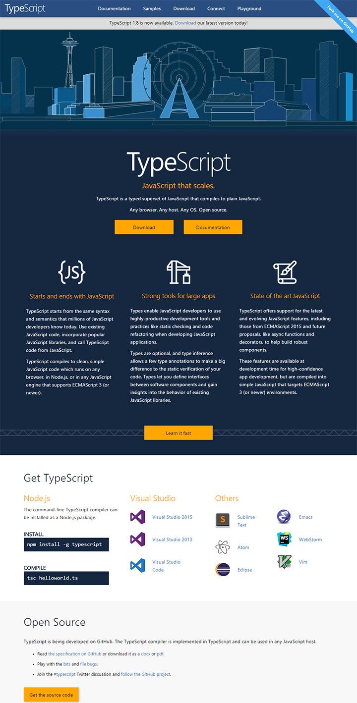 new typescript website redesign 2016