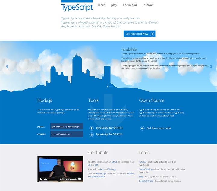 original typescript website homepage