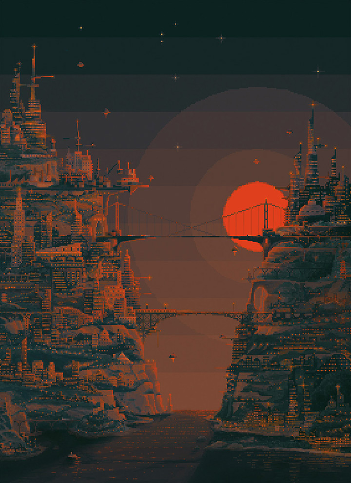 troy yile pixel art sunset parallel