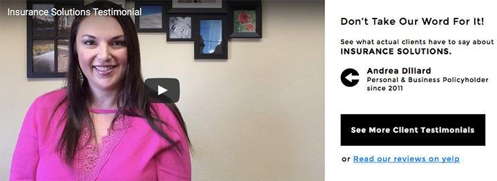 video testimonial landing page