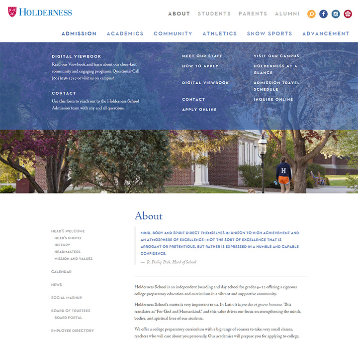 holderness school website