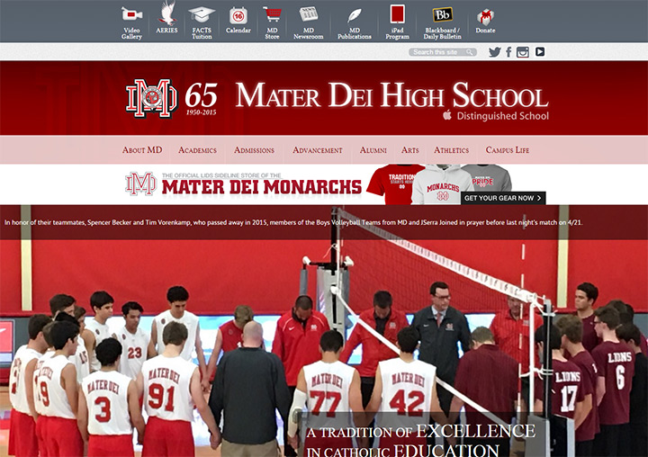 mater dei school website
