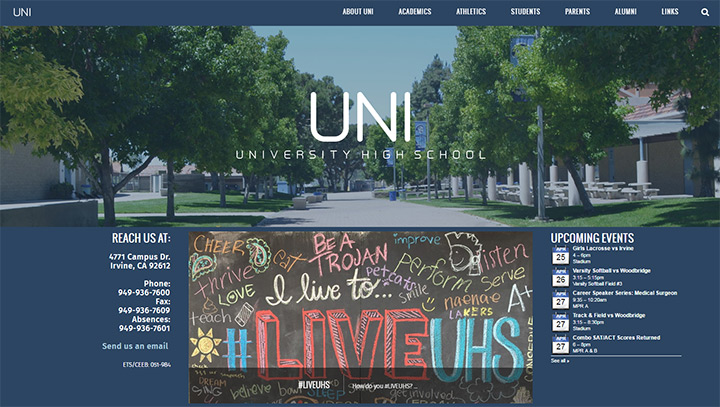 university high school website