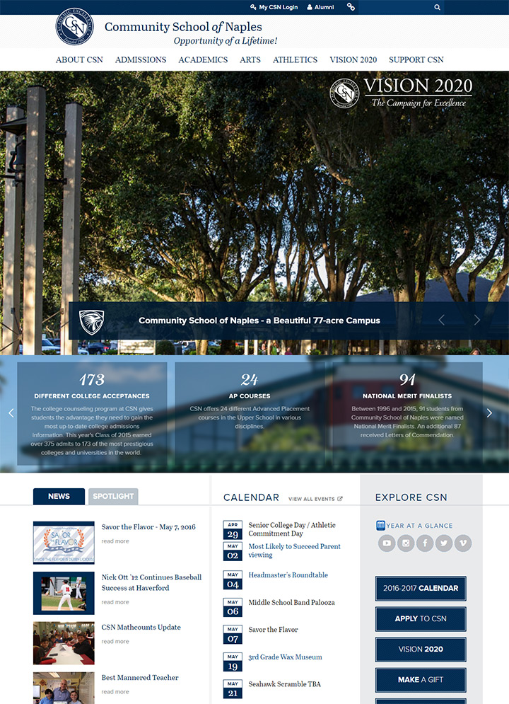 community school naples website