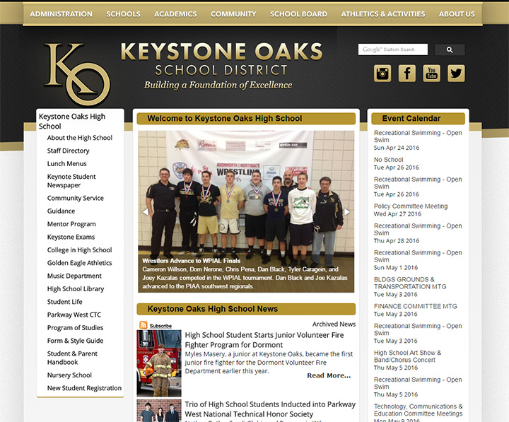 keystone oaks website