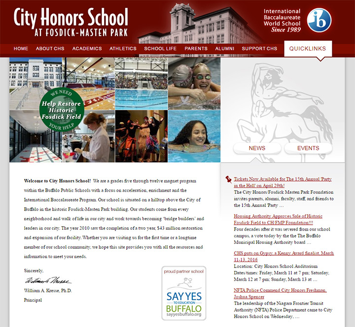city honors school website