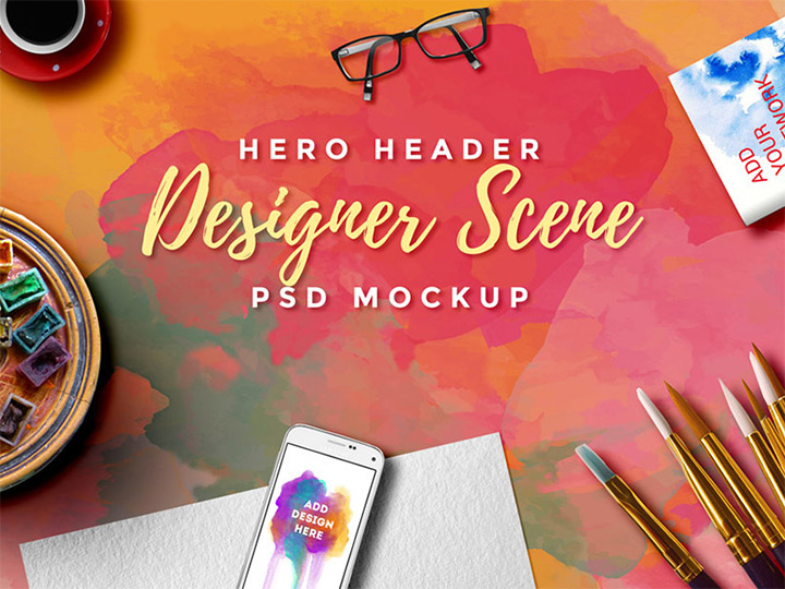 designer scene header mockup freebie