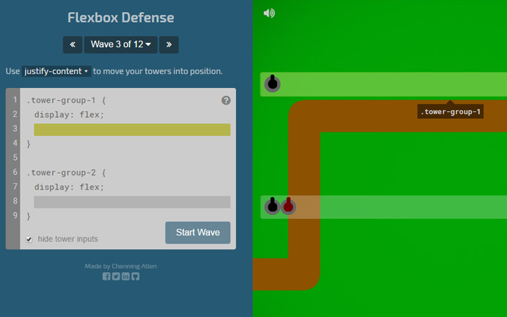 flexbox defense webapp game
